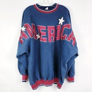 Vintage America Spirit Jersey Sweatshirt Blue Red